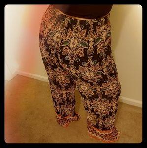 Wide leg boho pants
